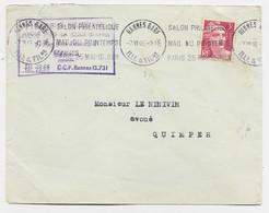 GANDON  3FR LETTRE MEC KRAG SALON PHILATELIQUE RENNES GARE 7.VI .46 - Mechanical Postmarks (Advertisement)