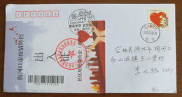 God Blessing Chinese,CN 20 Meihekou Fighting COVID-19 Propaganda PMK And Jinhua Community Pass Note Used On Cover - Enfermedades