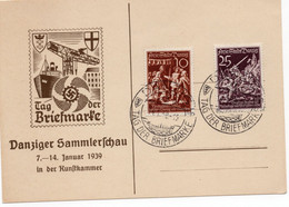 Propaganda Tolle Postkarte Danzig Tag Der Briefmarke Vom 14.1.1939 Danziger Sammlerschau - Danzig