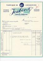 Facture Illustrée Usine Fabrique De Conserves Truffes Et Foies Gras JOUBES & Co à SARLAT DU PERIGORD 24 Dordogne - 1950 - ...