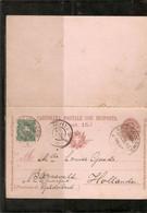 ITALIE . ENTIER AVEC REPONSE 7,5c +timbre 58 . De COLICO . Pour Les PAYS-BAS . 1898 . - Interi Postali
