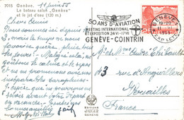Suisse Flamme Oblitération Cachet 1955 Geneve Cointrin 50 Ans D' Aviation Meeting International Avion Aviation - Storia Postale