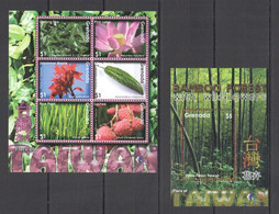 TT884 GRENADA NATURE FLORA OF TAIWAN BAMBOO FOREST WITH WILD FLOWERS BL+KB MNH - Sonstige
