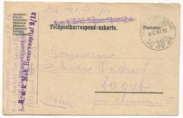 AUSTRIA HUNGARY WW1 - K.u.K. FELDPOST 38, Mob. Reserve Spital, Traveled To Zagreb, Year 1916. - WW1