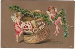 L330A0910 - Joyeux Noël - Petits Anges Sur Un Panier , Coeur Et Fer à Cheval - Carte Gauffrée - EAS - Other