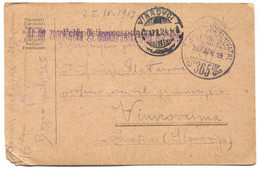 AUSTRIA HUNGARY WW1 - K.u.K. FELDPOST 365, Infant. Regiment Zagrebačka Domobranska, Traveled To Vinkovci, Year 1917. - WW1