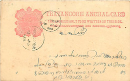 Feudatory State Travancore  Post Card C 22 (Deschl) Rose Red  Cancelled - Andere