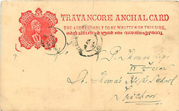 Feudatory State Travancore  Post Card C 22 (Deschl) Red  Cancelled   Fold - Andere