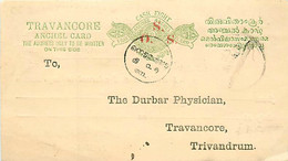Feudatory State Travancore  Offcial Post Card  (Deschl)   Cancelled  > Trivandrum  10/7/1898 - Other
