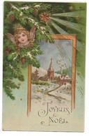 L330A0920 - Joyeux Noël - Tête D'Ange Dans Un Sapin Et Décor Enneigé  - Carte Gauffrée Et Précurseur - Other