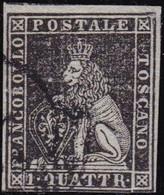 Toscana - 027 € 1852 – 1 Q. Nero Su Grigio N. 1c. Cert. Bolaffi, E. Diena. Il Francobollo Presenta 3 Ampi Margini A Filo - Toskana
