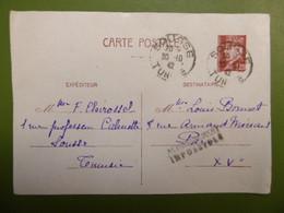 Carte Franchise Militaire - Entier Postal De PETAIN -1942 - Acheminement Impossible - Correspondance Militaire - TUNISIE - Militaire Kaarten Met Vrijstelling Van Portkosten