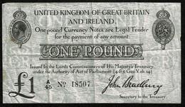 * £1 * Treasury Note * J. Bradbury * Prefix A/45 - First Series * T11 / P349a * VF - 1 Pound