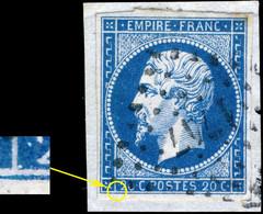France - Yv.14A 20c Bleu T.1 Pos.139G3 (1er état) - Oblitéré PC 1747 (Lodève) - TB Sur Petit Fragment - (ref.03zc) - 1853-1860 Napoléon III