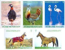 Turkmenistan 2016, Definitives, Fauna, Birds, Horses, 5v - Turkménistan