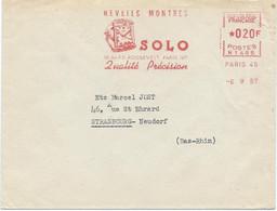 LETTRE 1957 AVEC EMA ROUGE REVEILS MONTRES SOLO PARIS - Horlogerie