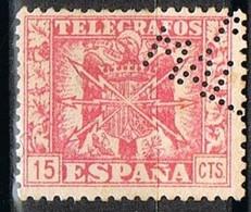 Sello  15 Cts Telegrafos, Perforado, Perfin, Firmenlung PALMA De MALLOCA º - Telegrafi