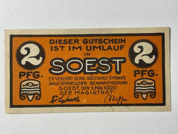 Allemagne Notgeld Soest 2 Pfennig - Collezioni