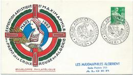 LETTRE 1962  AVEC CACHET SALON ARTISTIQUE ET MAXIMAPHILE ALGER AU PROFIT DE LA CROIX ROUGE - Cachets Commémoratifs