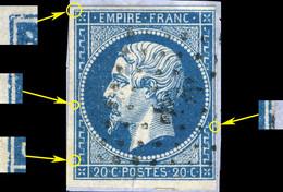 France - Yv.14A 20c Bleu T.1 Pos. 117D2 (2è état) - Obl. PC 898 (Cognac) - TB Sur Petit Fragment - (ref.03zg) - 1853-1860 Napoléon III