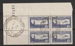 France PA 6a Outremer Oblitéré En Bloc De Quatre Coin De Feuille , Cachet De L Exposition - 1927-1959 Used