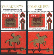 1023 Tag Der Briefmarke 1979 - Passerverschiebung Farben Schwarz Und Gold, ** - Engraving Errors