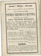 MAASTRICHT - Petrus RUTTEN  +1856 - Ridder Orde Eikenkroon, Oud Schepen Maastricht - Echtg. Maria HENCKELIUS - Images Religieuses