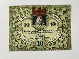 Allemagne Notgeld Zeulenroda 10 Pfennig - Collezioni