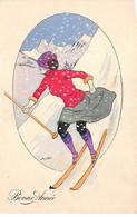 Illustrateurs - N°72759 - X. Sager - Bonne Année - Femme Sur Des Skis - Sager, Xavier