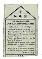 WETTEREN / KRUISHOUTEM / HUISE - E.H. Ludovicus MATTHYS +1826 - Priester, Onderpastoor, Pastoor - (Kopergravure NEEL) - Images Religieuses