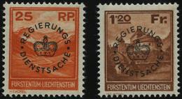 DIENSTMARKEN D 9/10 *, 1933, 25 Rp. Valünatal Und Naafkopf Und 1.20 Fr. Burg Vaduz, Falzrest, Pracht, Mi. 135.- - Dienstpost