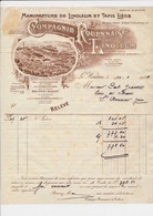Facture Illustrée Et Sa Lettre De Change Manufacture De Linoeum Au HOULME 76 - 1900 – 1949