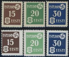 ESTLAND 1-3x,y **, 1941, Landespost, Beide Papiere, Postfrisch, 2 Prachtsätze, Mi. 115.- - Besetzungen 1938-45
