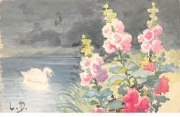 Illustrateur - N°66052 - L.D. - Fleurs Au Bords De L'eau Avec Un Cygne - Carte Peinte à La Main - Altre Illustrazioni