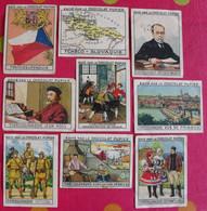 Lot 9 Images Chocolat Pupier. Album Europe 1933. Tchécoslovaquie. Prague Huss Masaryk Slovaquie Carte Drapeau - Other