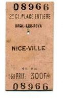 Ticket De Train Ou Bus / Breil-sur-Roya - Nice-Ville - Europe