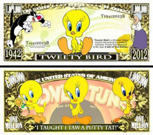 USA 1 Million Dollar Novelty Banknote Tweety (Warner Bros Looney Tunes) - UNC & CRISP - Other - America