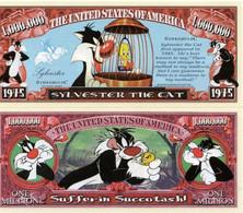 USA 1 Million Dollar Novelty Banknote Tweety & Sylvester (Warner Bros Looney Tunes) - UNC & CRISP - Other - America