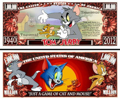 USA 1 Million Dollar Novelty Banknote Tom & Jerry (Warner Bros) - NEW - UNC & CRISP - Other - America