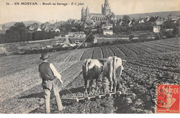 71 .n° 108768 . Chagny . Agriculture .boeufs Au Hersage .vue Generale . - Chagny