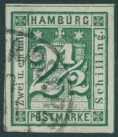 HAMBURG 9 O, 1864, 21/2 S. Blaugrün, Leichte Knitterspur Sonst Breitrandig Pracht, Fotobefund Lange, Mi. 180.- - Hamburg