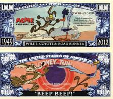 USA 1 Million Dollar Novelty Banknote Wile E. Coyote & Road Runner (Warner) UNC & CRISP - Other - America
