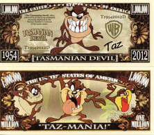 USA 1 Million Dollar Novelty Banknote Tasmanian Devil (Warner Bros) - NEW - UNC & CRIS - Other - America