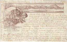 GUNTEN Bern Thuner See Pension SCHÖNBERG In 10 Minuten Entfernung Braun Litho Als Vorläufer 20.9.1896 Gelaufen - BE Bern