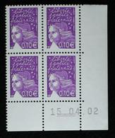 Coin Daté - YT N°3446 - 10c Luquet Du 15/04/02 - 2000-2009