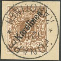 KAROLINEN 1I BrfStk, 1899, 3 Pf. Diagonaler Aufdruck Mit Ersttagsstempel PONAPE 12.10.99, Gepr. U.a. W. Engel Und Fotoat - Kolonie: Karolinen