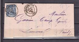 1877 AUDE  LETTRE DE CARCASSONNE SUR FACTURE SUCRERIE POUR LIMONADIER - 1877-1920: Semi-Moderne
