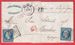 N°14 X2 ROUBAIX NORD PD ROUGE + PD NOIR ESPAGNOLE BARCELONNE ESPAGNE - 1849-1876: Klassik