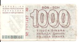 BOSNIE-HERZEGOVINE 1000 DINARA 1992 VG++ P 26 - Bosnia Erzegovina