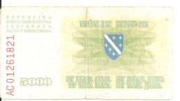 BOSNIE HERZEGOVINE 5000 DINARA 1993 VG+ P 16 - Bosnia Erzegovina